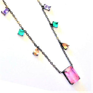 Necklaces with Pink Crystal Pendant necklace De Lux