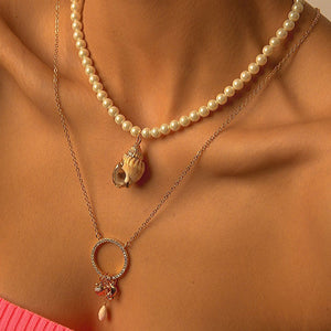 Necklaces with Synthetic Pearl and Seashell Pendants necklace De Lux