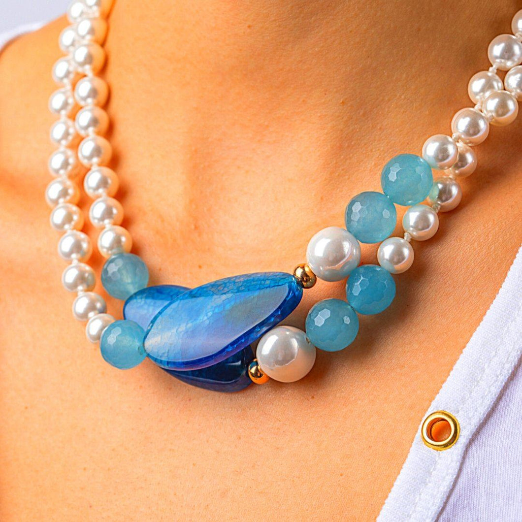 Pearls Necklaces with Blue Quartz Pendant necklace De Lux Jewellery