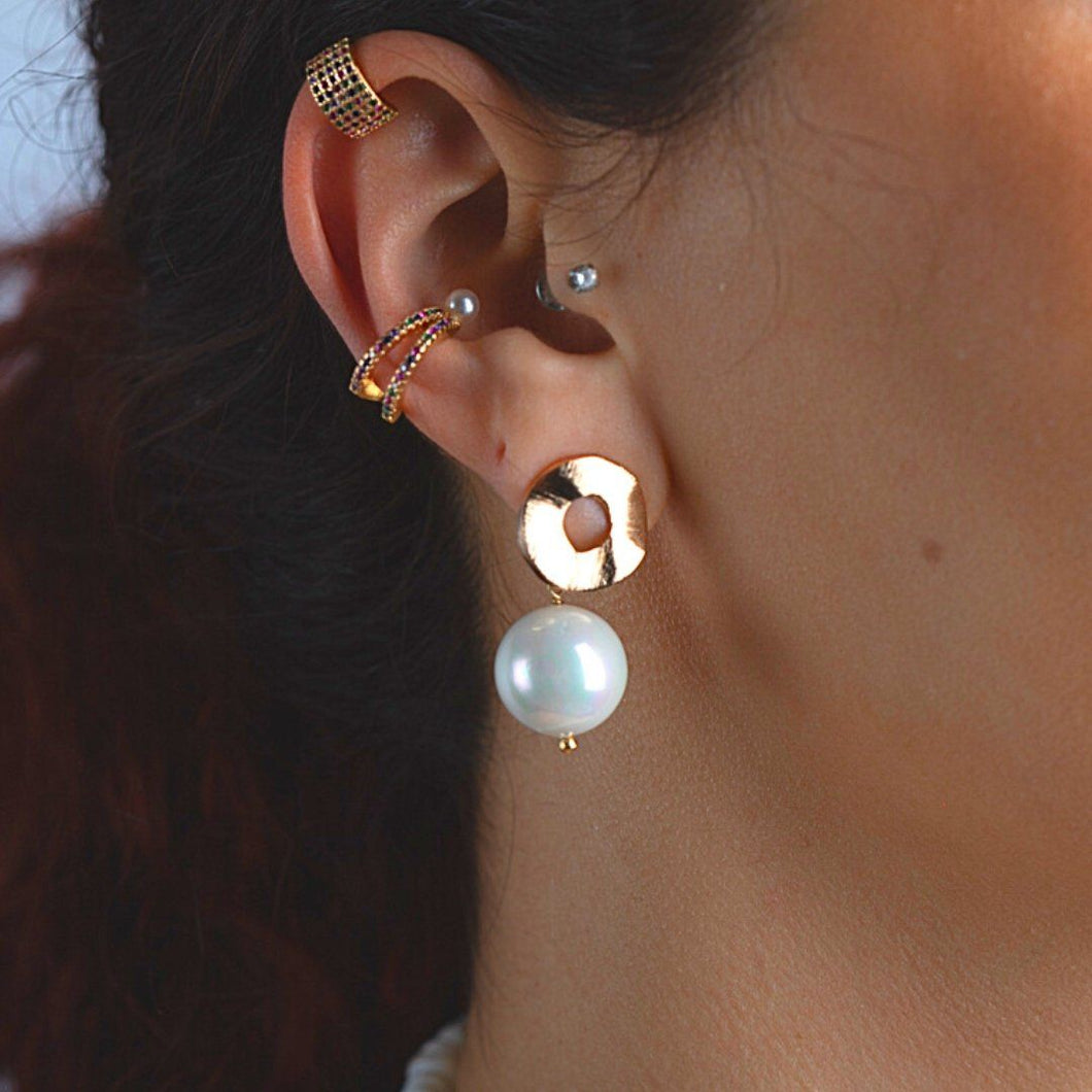 Stud-Drop Earrings with Synthetic Pearl earrings De Lux Jewellery