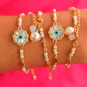 Synthetic Pearl Bracelets 2 in 1 bracelet De Lux