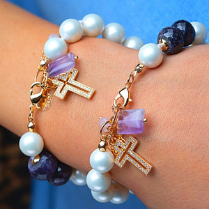 Synthetic Pearl Bracelets with Quartz Stone Pendant bracelet De Lux Jewellery