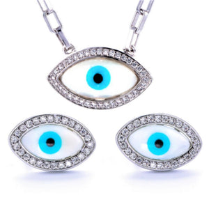 TS-007 jewelry set De Lux Jewellery 45cm White Plated