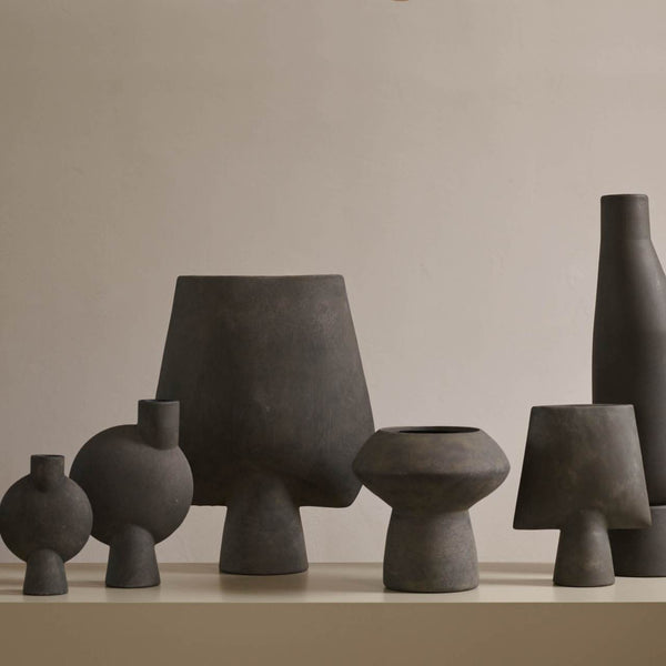 Sphere vase square big dark grey