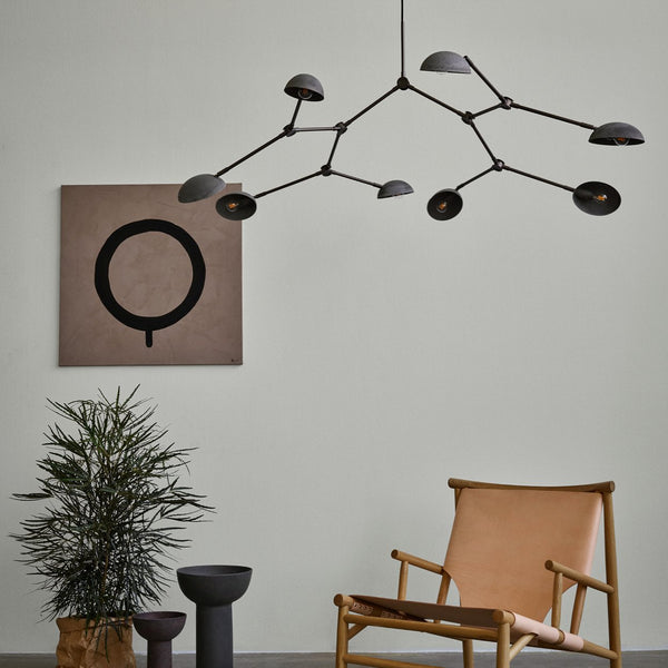 Drop chandelier - oxidized aluminium