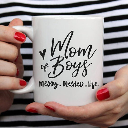 Mom Of Boys Coffee Mug, Messy. Blessed. Life. - The Mommy Shoppe