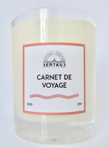 travel book candle - bougie carnet de voyage