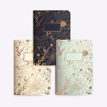 "Load image into Gallery viewer, trio notebooks - trio petits carnets ""fine fleur""- Les éditions du paon"