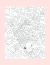 Coloring Page 22 Swimming Coy Fish - Self Care Pursuit