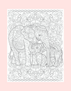 Coloring Page 44 Mama and Baby Elephants - Self Care Pursuit