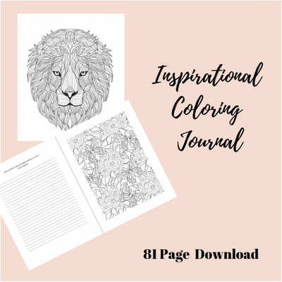 81 Page Full Inspirational Adult Coloring Journal *PDF - Self Care Pursuit