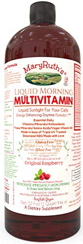 Morning Liquid Vitamins by MaryRuth (Raspberry) Vegan Multivitamin A B C D3 E Trace Minerals & Amino Acids for Energy, Hair, Skin & Nails for Men & Women | Paleo | Gluten Free | 0 Sugar | - Self Care Pursuit