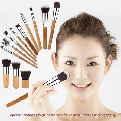 12 Professional Cosmetic Brush Set With Bamboo Handles - Self Care Pursuit