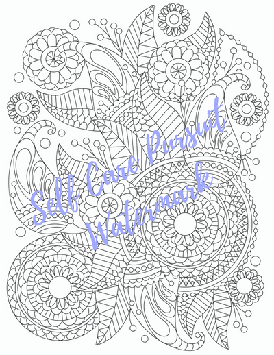Coloring Page 10 Relaxing Design C - Self Care Pursuit
