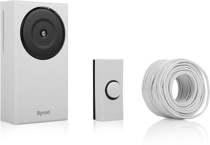 Byron Wired Door Chime Set, Door Chime, Push Bell & Bell Wire, Classic Ring Sound, Wall Mounted - 1217
