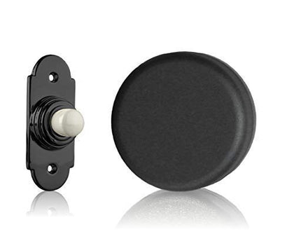 Wind up Mechanical Doorbell, Matt Black, Black Button with Porcelain Press