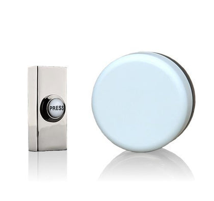 Wind up Mechanical Doorbell, White, Brushed Nickel Push with Porcelain Press