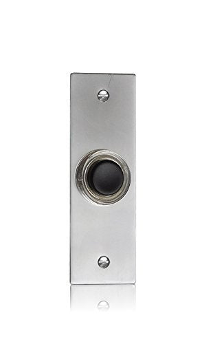 Brush Chrome Doorbell Push Button with Black Press, Model 2201-2BK