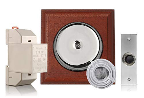 Chrome Door Bell Kit on Mahogany with Transformer and Bell Push