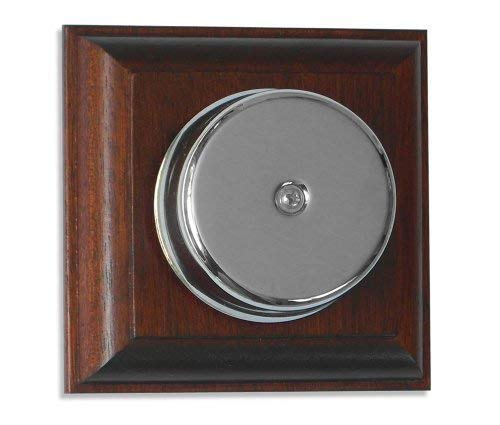 Loud Underdome wired Chrome Doorbell on Mahogany Plinth