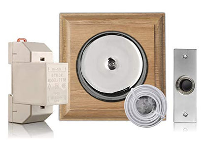 Chrome Door Bell Kit on Honey Oak with Transformer and Bell Push