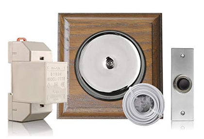 Chrome Door Bell Kit on Tudor Oak with Transformer and Bell Push