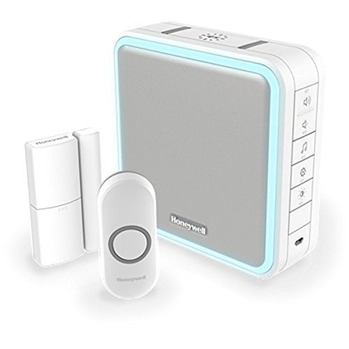 Honeywell DC915NDE Wireless Portable Doorbell, Door Sensor and Push Button - White