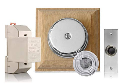 Chrome Door Bell Kit on unvarnished Oak with Transformer and Bell Push