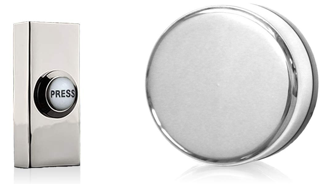 Imperial Wind up Mechanical Doorbell, Chrome with Chrome PRESS push.
