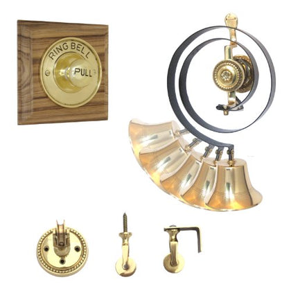 Traditional Butlers Bell & Polished Brass Pull on Hardwood with Nylon Cord