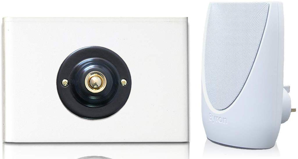 Byron 100m Wireless Plug-in Contemporary Doorbell kit Black Plated Push with Brass Centre on White Perspex Plinth