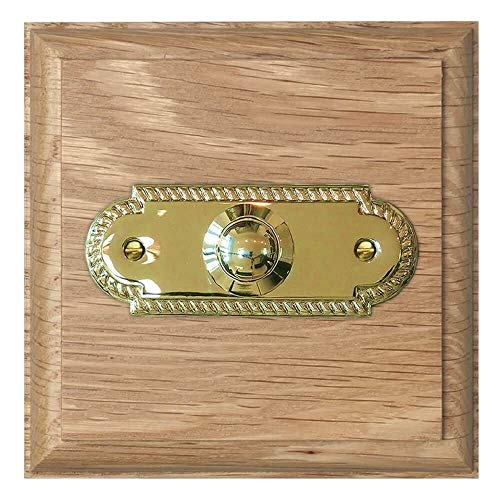 Imperial Natural unvarnished Oak Plinth, 100mm square, with 63mm Chrome Bell Push, Model NATCr63s (Natural Brass)