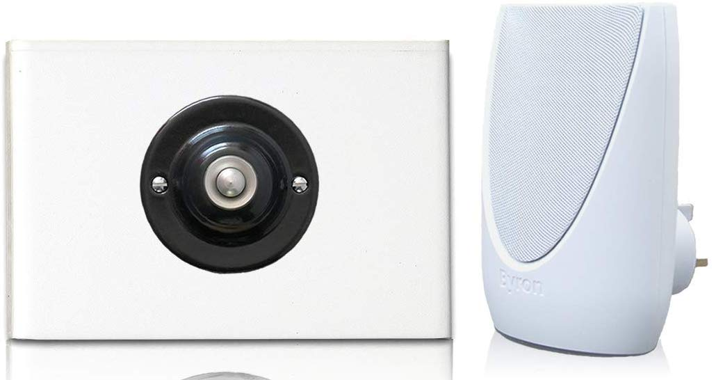 Byron 100m Wireless Plug-in Contemporary Doorbell kit Black Plated Push with Brushed Nickel Centre on White Perspex Plinth