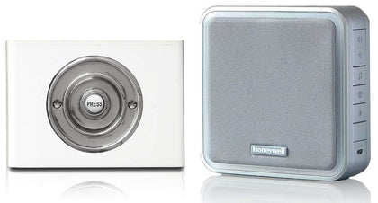 Honeywell 200m Wireless Doorbell kit with Chrome on Contemporary White Perspex Plinth