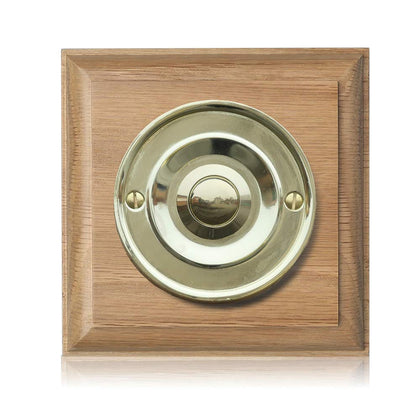 Imperial Varnished Tudor Oak Plinth, 100mm square, with 63mm Chrome Bell Push, Model TUDCr63s