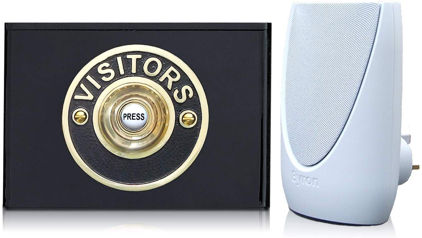 Byron 100m Wireless Plug-in Contemporary Doorbell kit Visitors Brass on Black Perspex Plinth