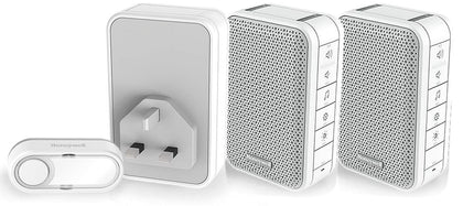 DC313WTR Honeywell Triple Pack, 1, Plug in doorbell with 2, Additional Portable Units, White