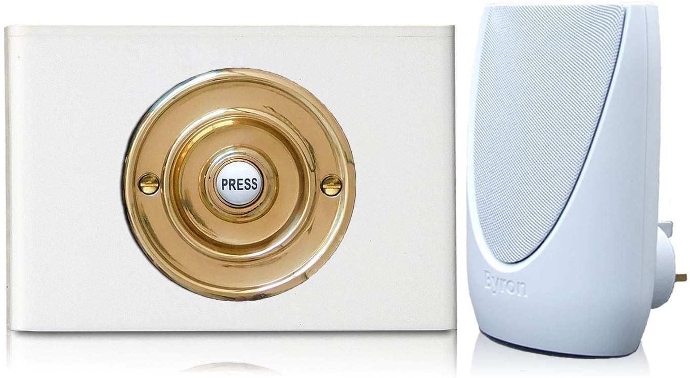 Byron 100m Wireless Plug-in Contemporary Doorbell kit Brass on White Perspex Plinth