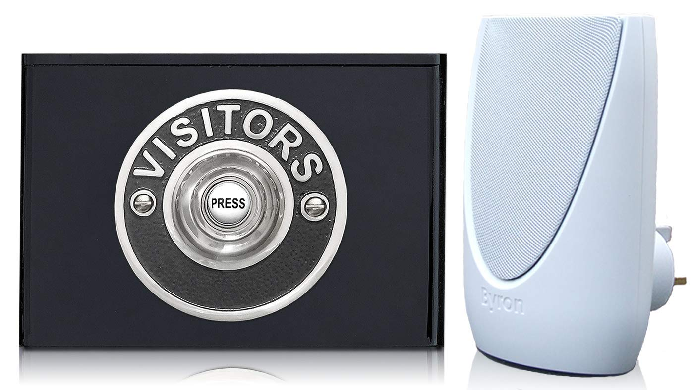 Byron 100m Wireless Plug-in Contemporary Doorbell kit Visitors Chrome on Black Perspex Plinth