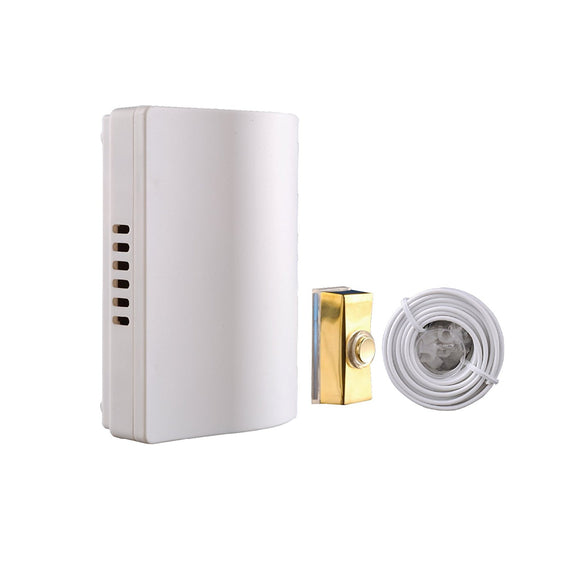 Byron 765 Wired Wall Mounted Battery Door Bell Chime Kit with Brass Bell Push and Bell Wire