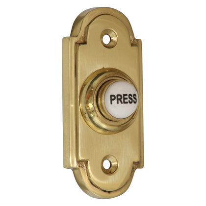 with 76mm Bell Push 115mm Square Imperial Wooden Plinth Natural Brass
