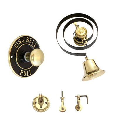 Traditional Butlers Bell & Round Brass/Black Pull With Nylon Cord