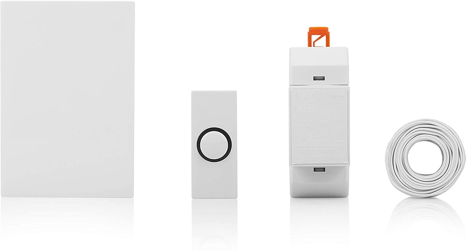 Byron 720k Wired Doorbell Set, Wired Doorbell, Push Bell, Transformer, Cable and Clips
