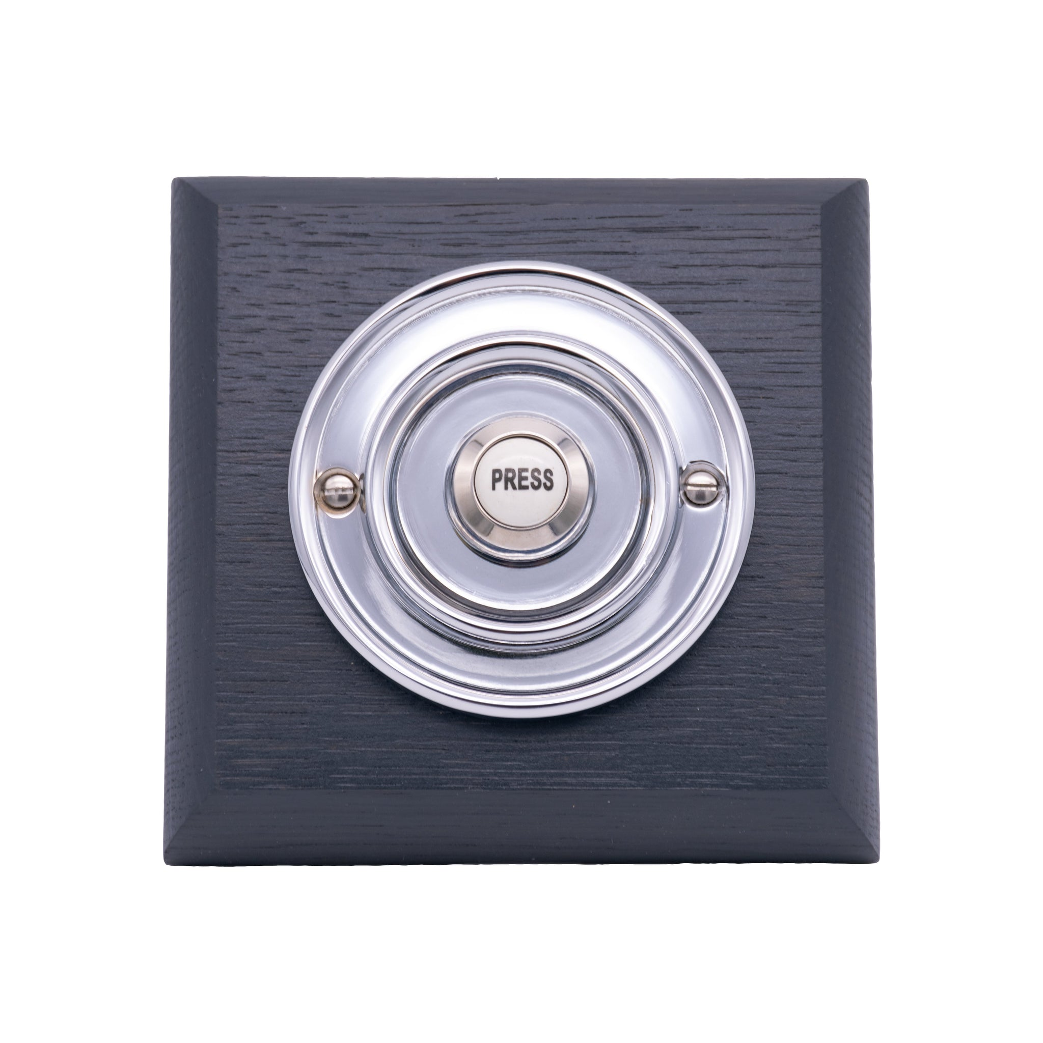 Byron 100m Wireless Period Plug-in Doorbell kit - Chrome on Grey Oak Plinth