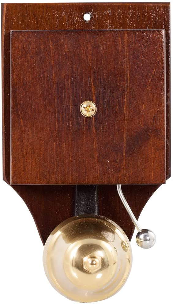 Wired Wall Mounted Retro Striker Doorbell, brass bell on a dark stained wood case.
