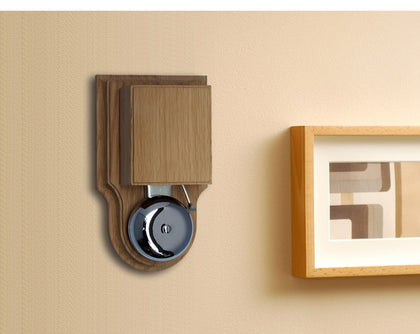 London Striker Chrome Doorbell/Buzzer range, on wooden Oak and Mahogany case