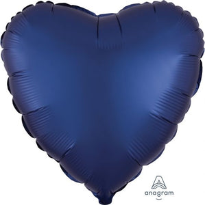 Navy Satin Heart 45cm