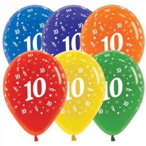 Age 10 Rainbow Mix Balloons - 6pack