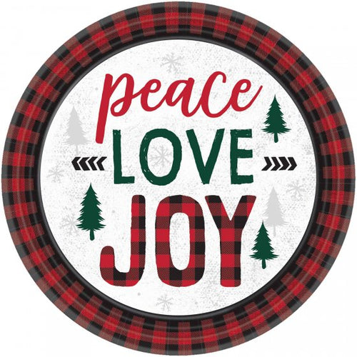 Tartan Peace Love Joy Side Plates