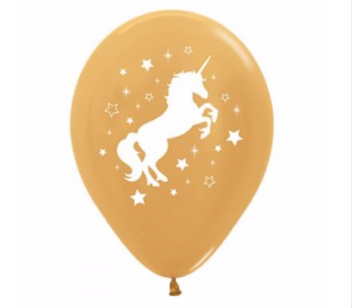 Gold Unicorn Balloons - 6 pack
